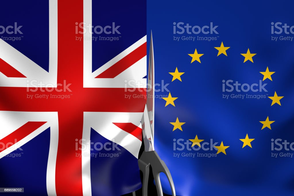 Brexit concept for United Kingdom exiting the European Union, 3D rendering vector art illustration
