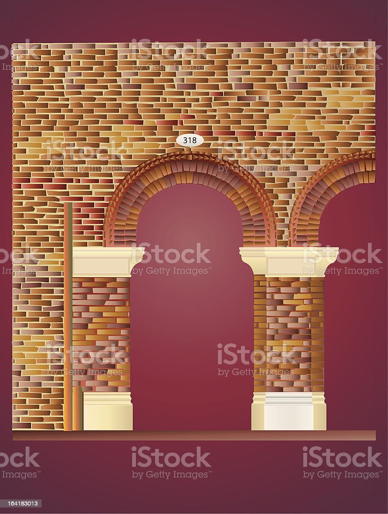 Brick Wall with arches royalty-free stock vector art