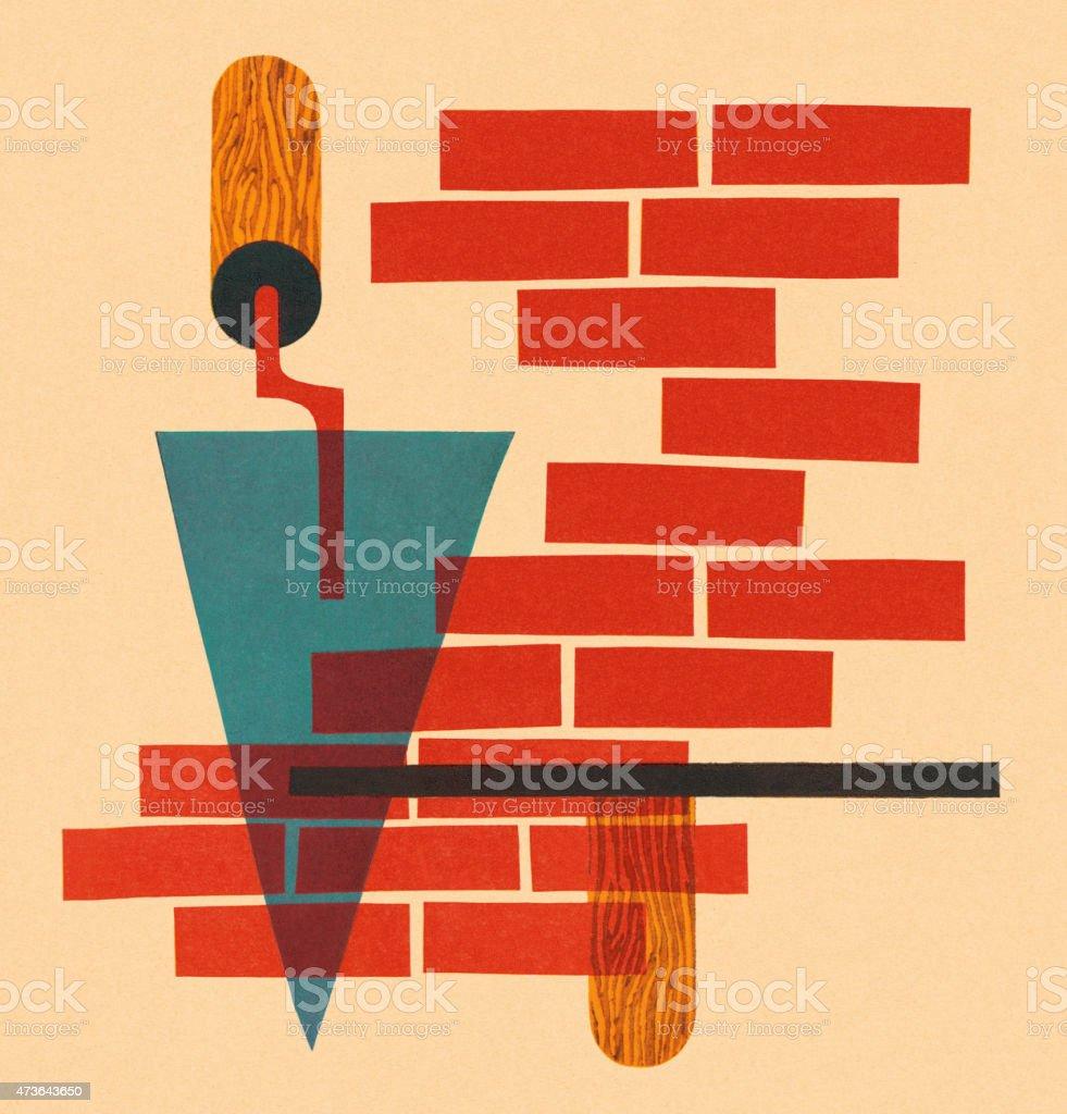 Bricks With Trowel vector art illustration
