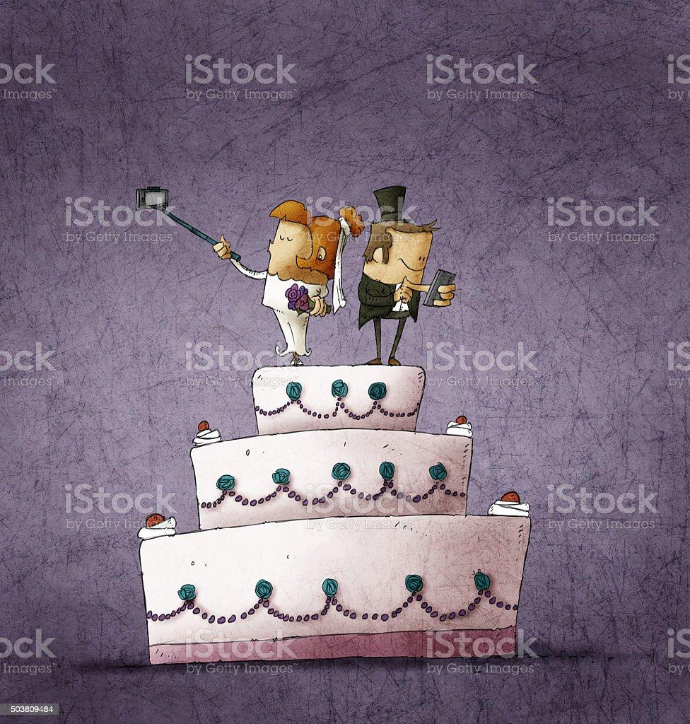 bride and bridegroom standing on wedding cake vector art illustration