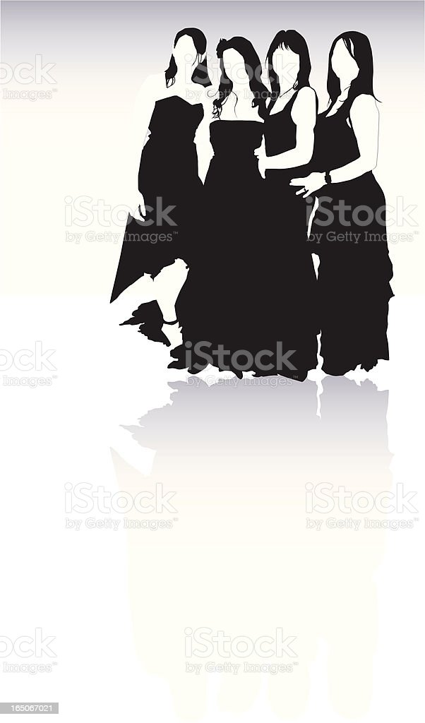 Bride and Bridesmaids royalty-free stock vector art