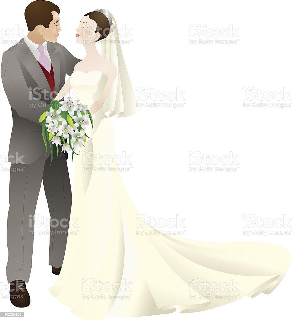 bride and groom in love wedding vector illustration royalty-free stock vector art