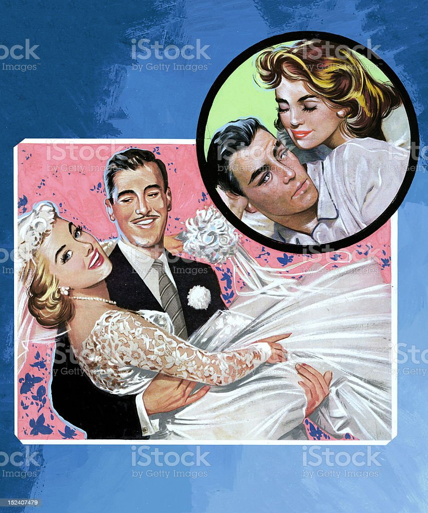 Bride and Groom With Another Couple in Circle royalty-free stock vector art
