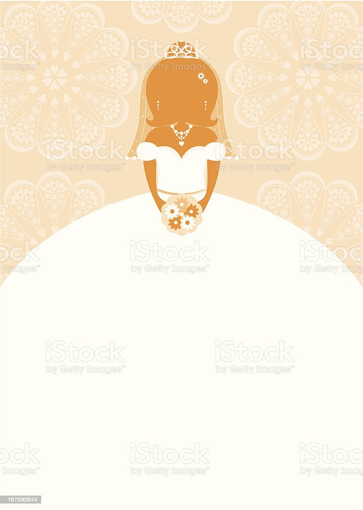Bride Character Silhouette on Lace Background royalty-free stock vector art