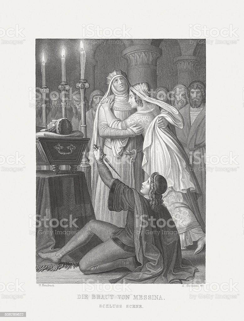 Bride of Messina by Friedrich Schiller, steel engraving, published 1869 vector art illustration
