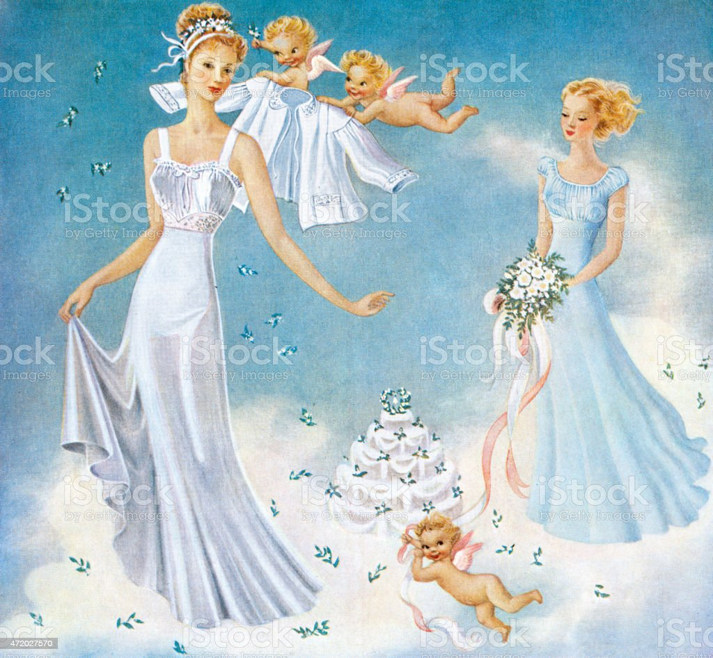 Bride Wearing Peignoir Set vector art illustration