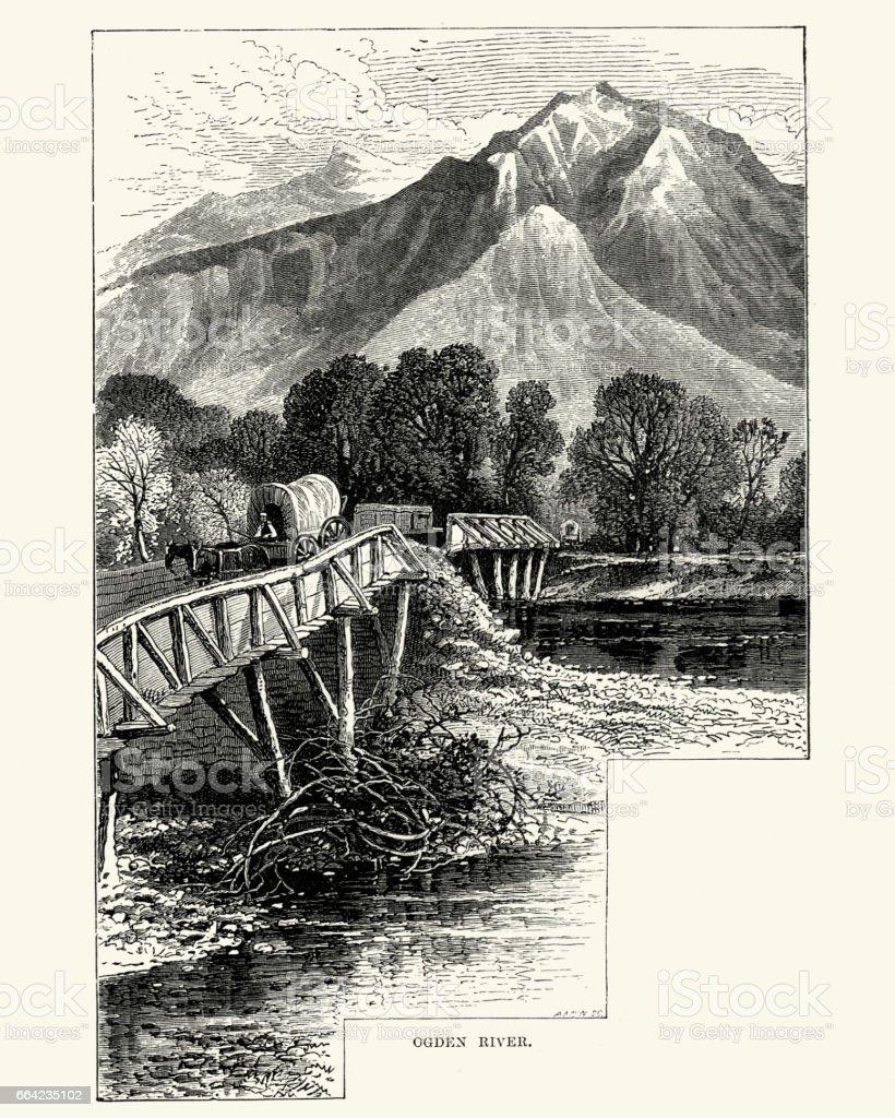 Bridge across the Ogden River, Utah 19th Century vector art illustration