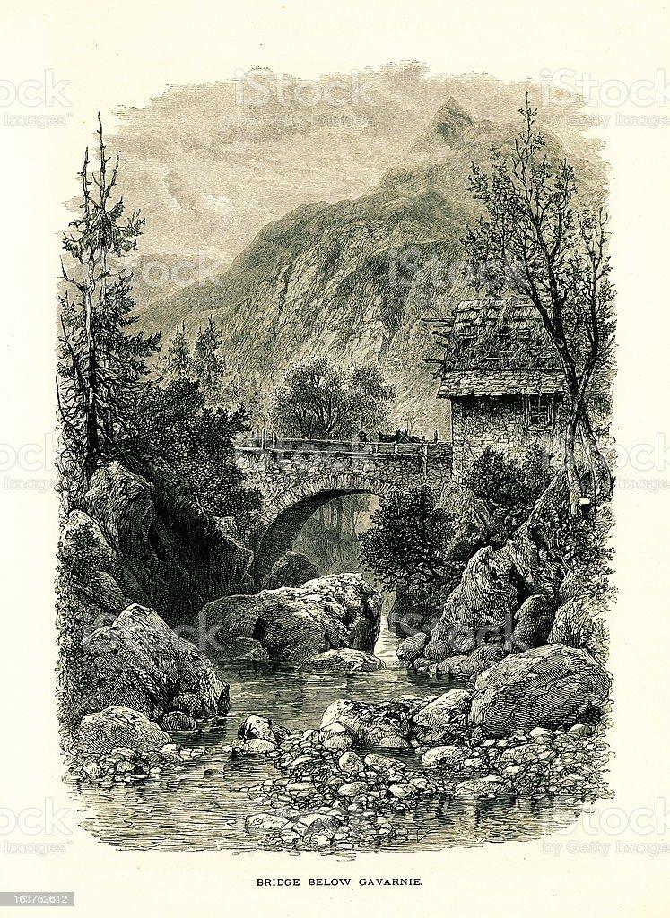 Bridge below Cirque de Gavarnie, France I Antique European Illustrations royalty-free stock vector art