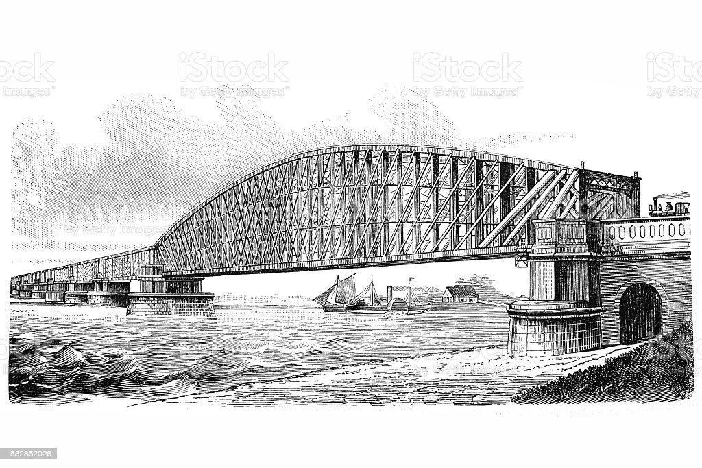 Bridge crossing river Lek vector art illustration