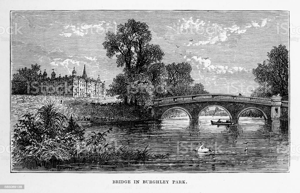 Bridge in Burghley Park, Stamford, England Victorian Engraving, Circa 1840 vector art illustration