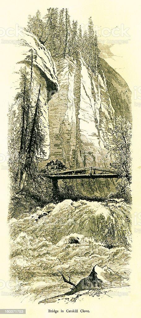 Bridge in Kaaterskill Clove, Catskill Mountains, New York vector art illustration