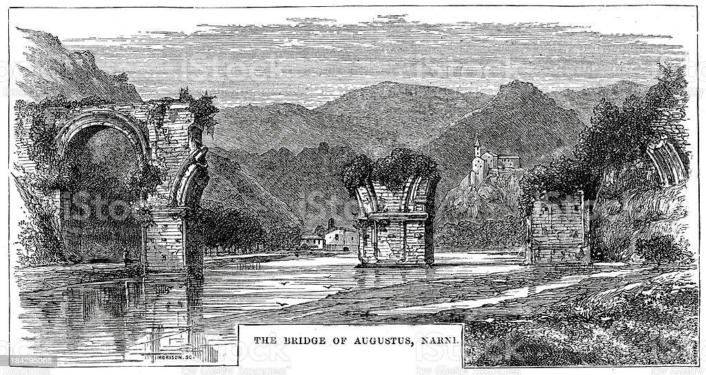 Bridge of Augustus Narni royalty-free stock vector art