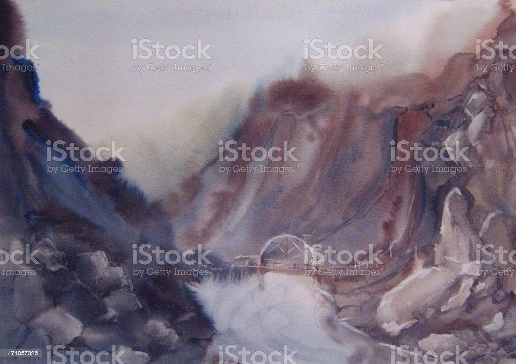 Ponte sopra una cascata in montagna illustrazione royalty-free