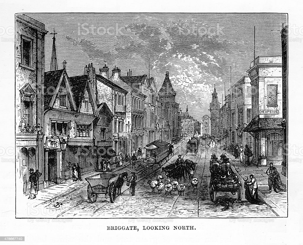 Briggate, England in the Early 18th Century Victorian Engraving vector art illustration