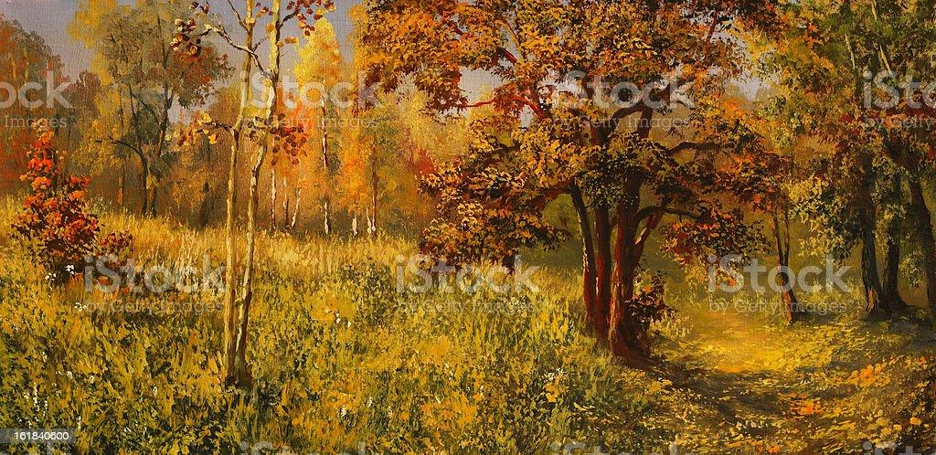 Bright autumn vector art illustration
