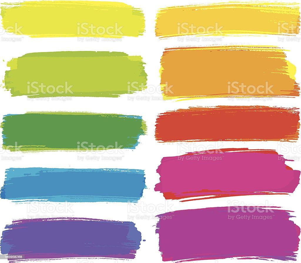 Bright coloured brush strokes vector art illustration