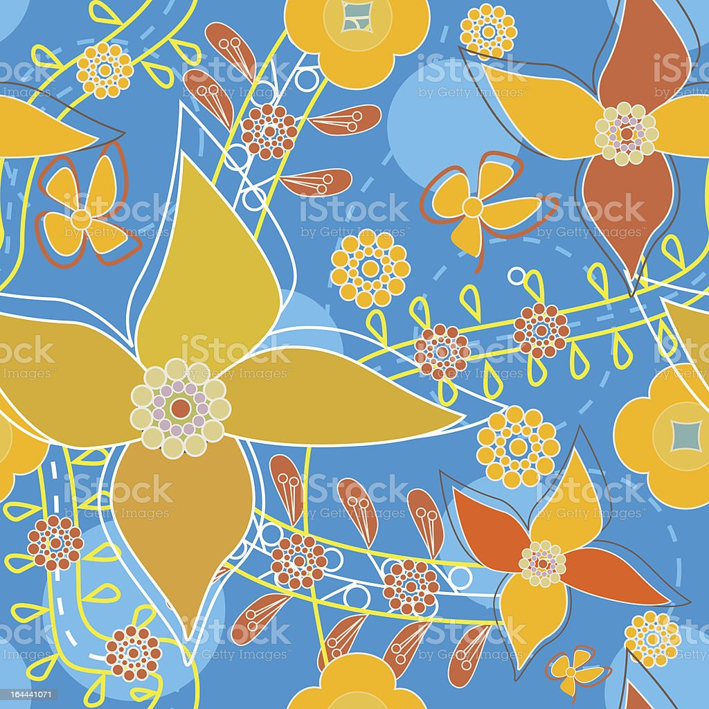 Bright flowers vector art illustration