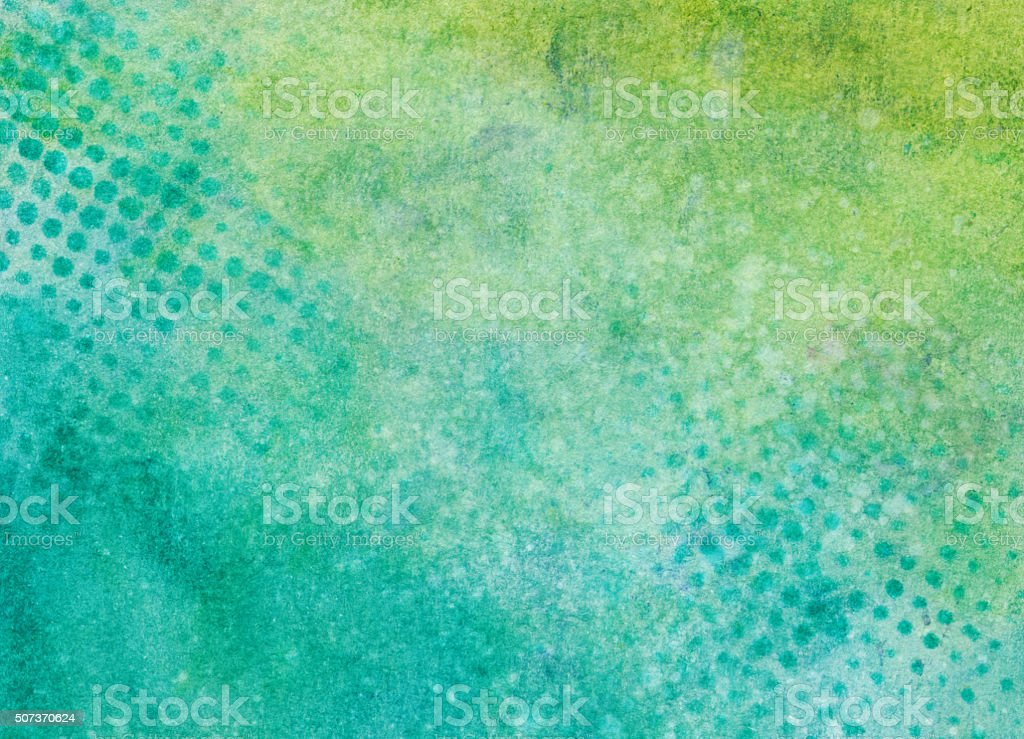 Bright green and blue hand painted background with dotted pattern vector art illustration