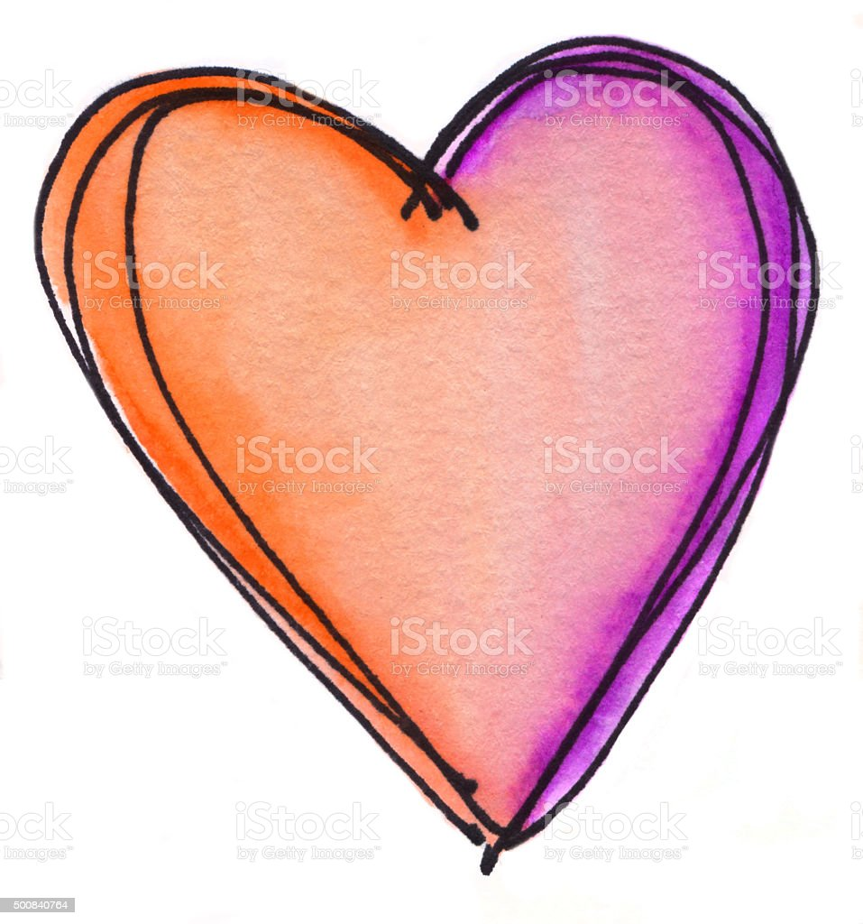 Bright orange and purple heart on isolated white background vector art illustration