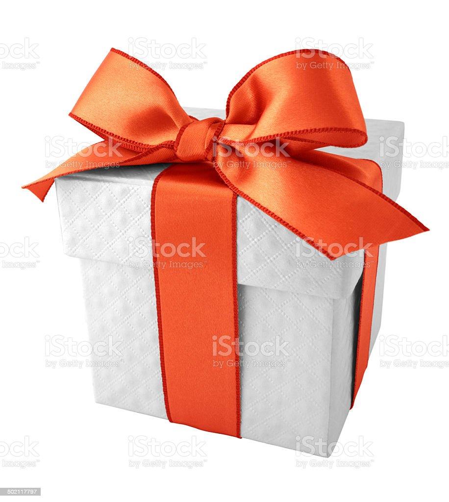 Bright orange ribbon with white quilt pattern gift box vector art illustration