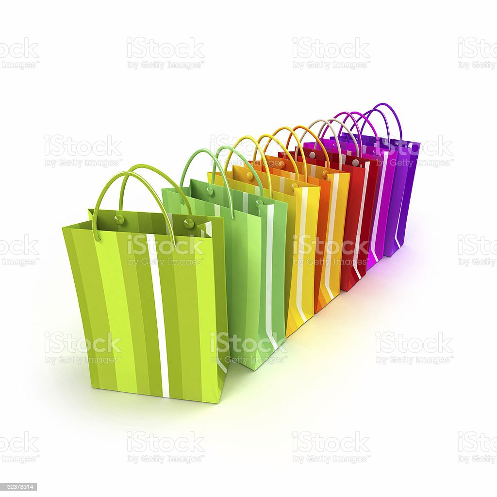 Brightly colored shopping bags in a row vector art illustration