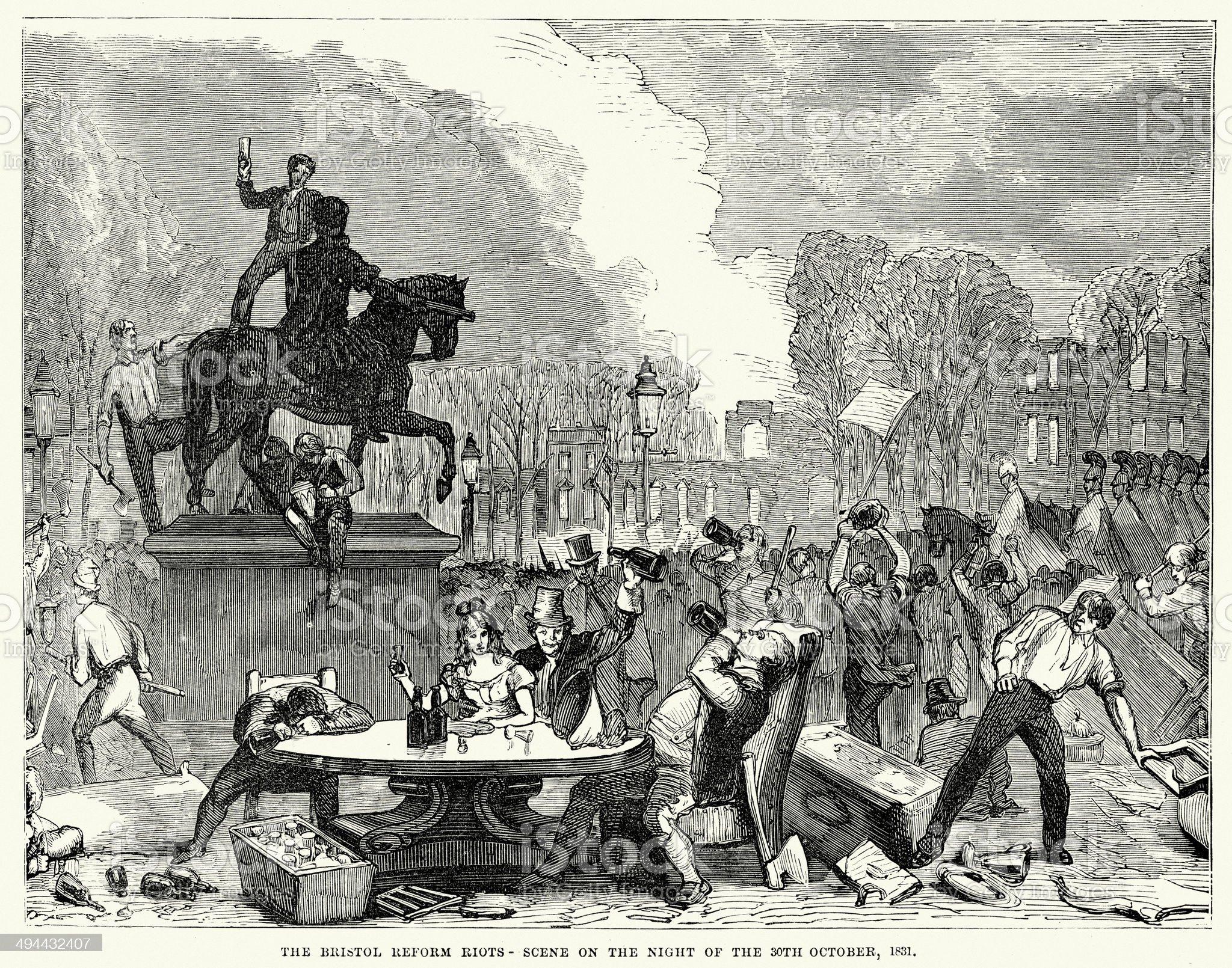 Bristol Reform Riots 1831 royalty-free stock vector art
