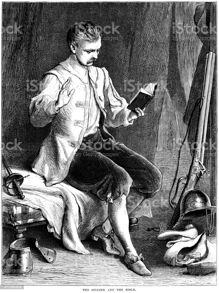 British Civil War soldier reading a bible vector art illustration