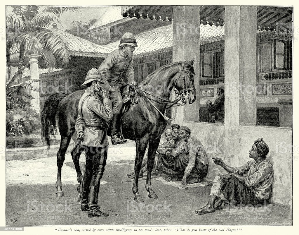 British Colonial Soliders interviewing South Sea Natives vector art illustration