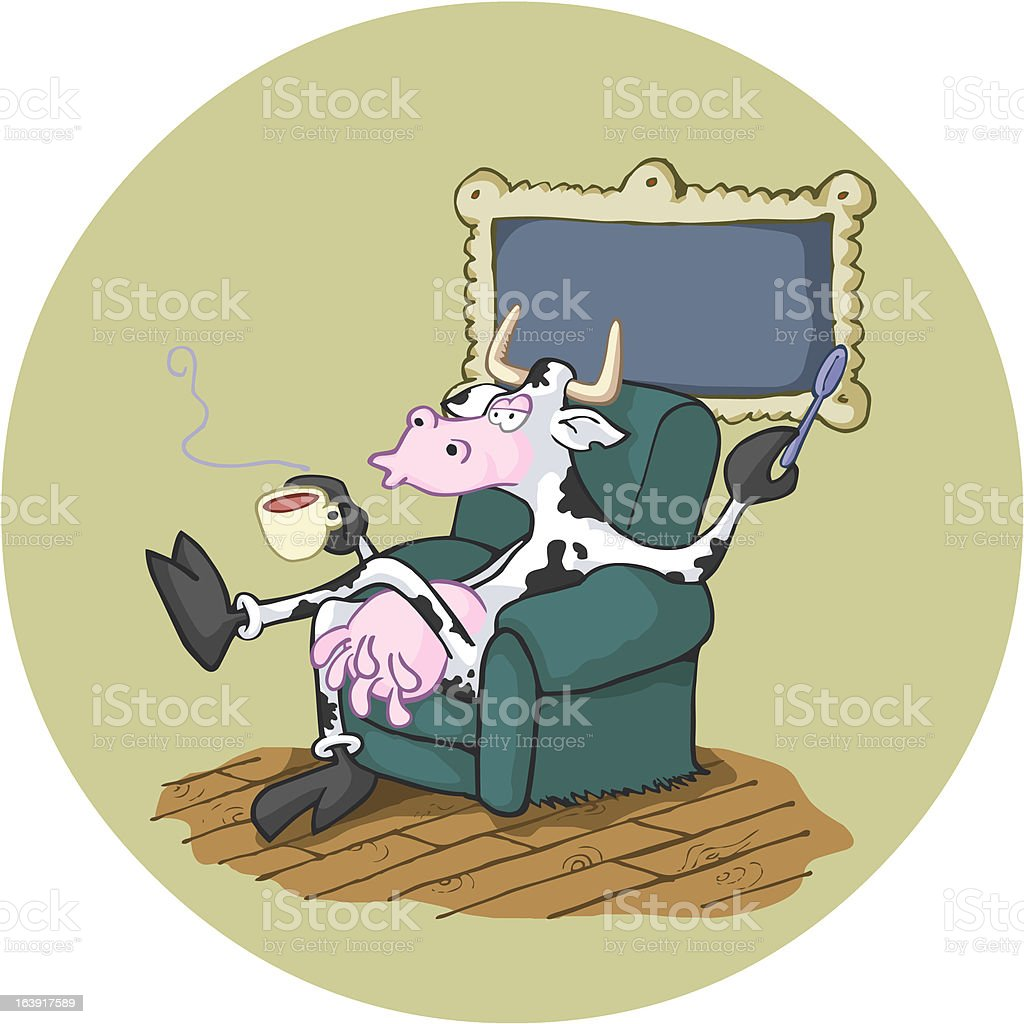British cow having a tea. royalty-free stock vector art
