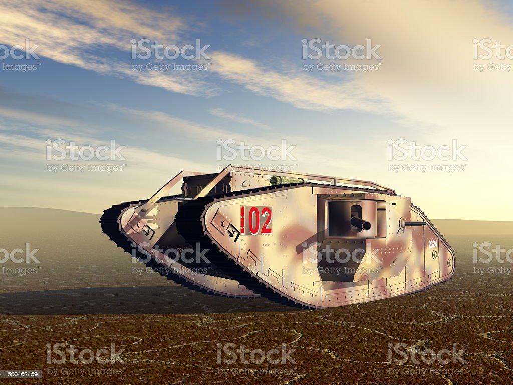 British Heavy Tank of World War I vector art illustration