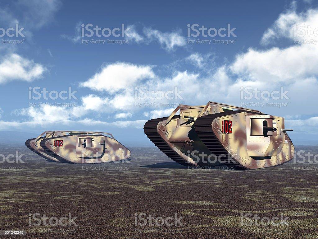 British Heavy Tanks of World War I vector art illustration