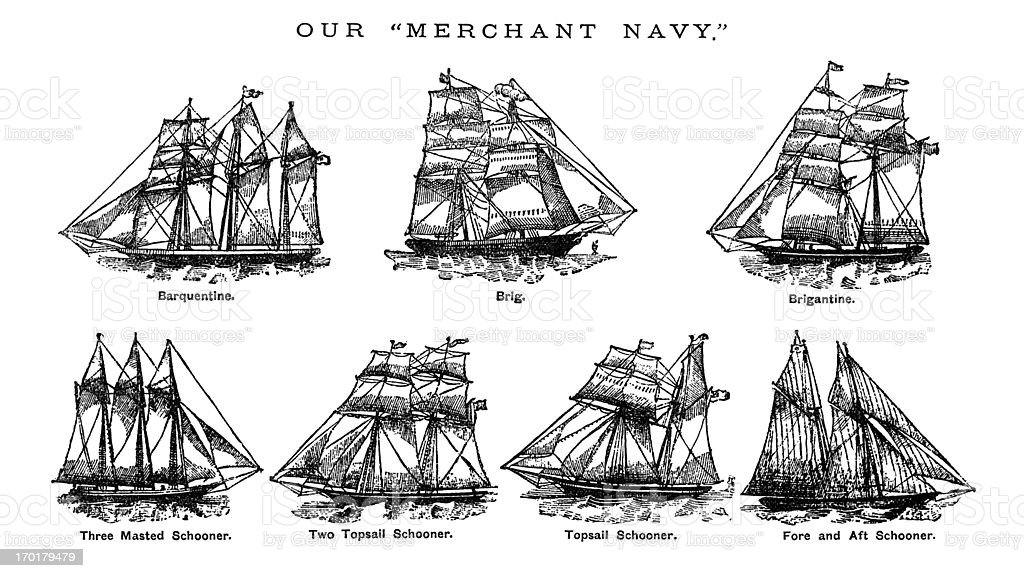 British Merchant Navy ships c1880 vector art illustration