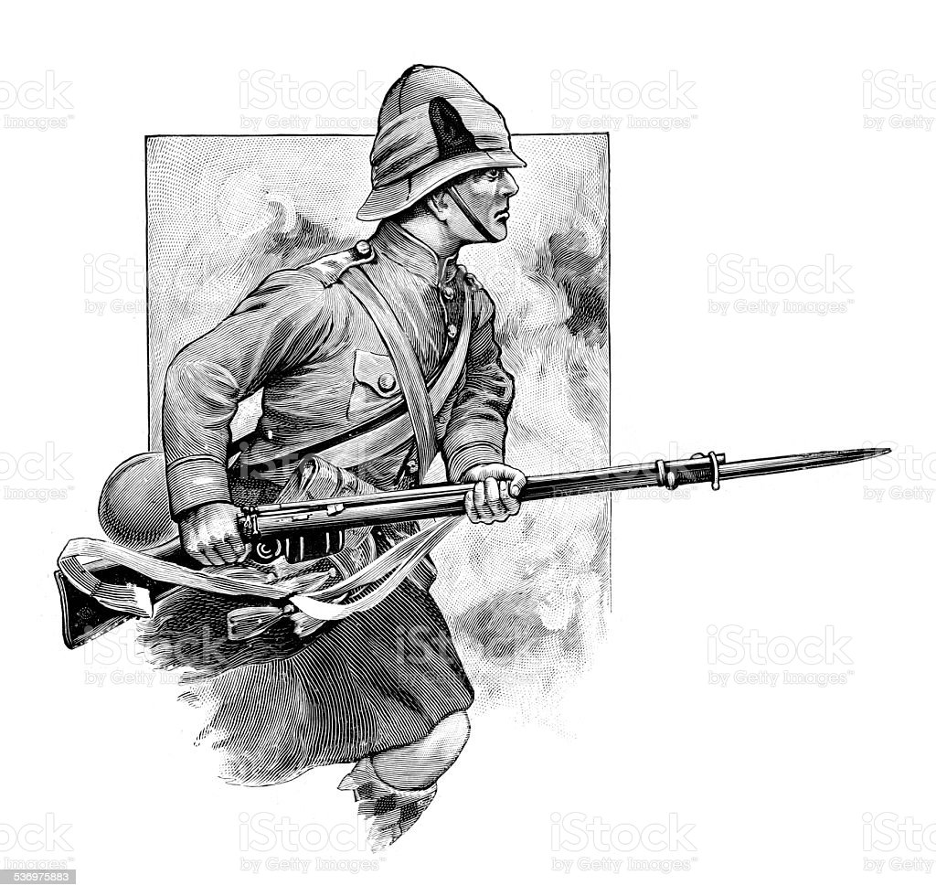 British Military - Soldier charging with bayonet vector art illustration