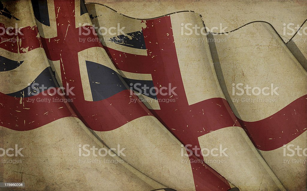 British Naval Flag 1606–1801 (The King's Colours) Old Paper vector art illustration