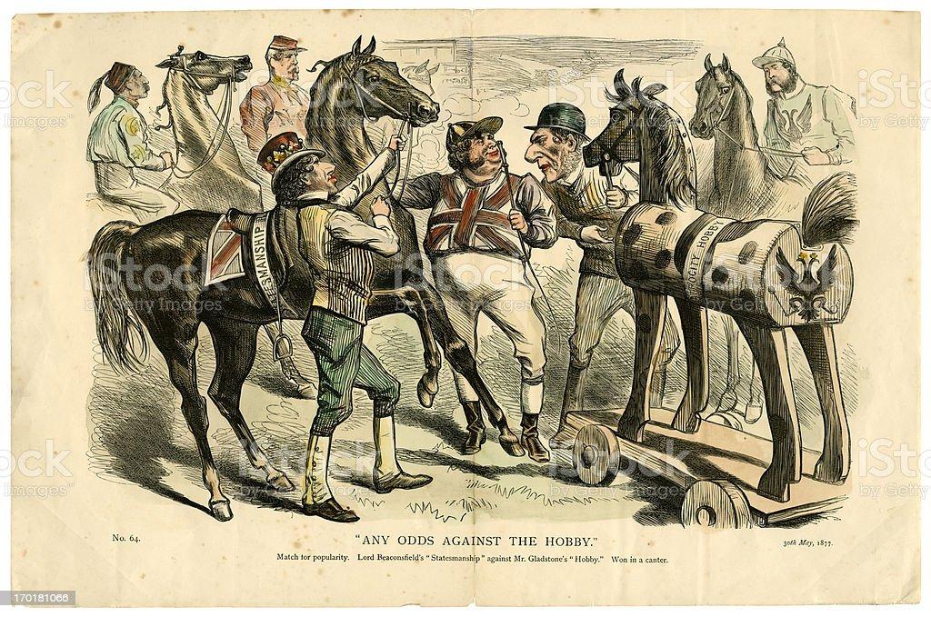 British political cartoon from 1877 vector art illustration