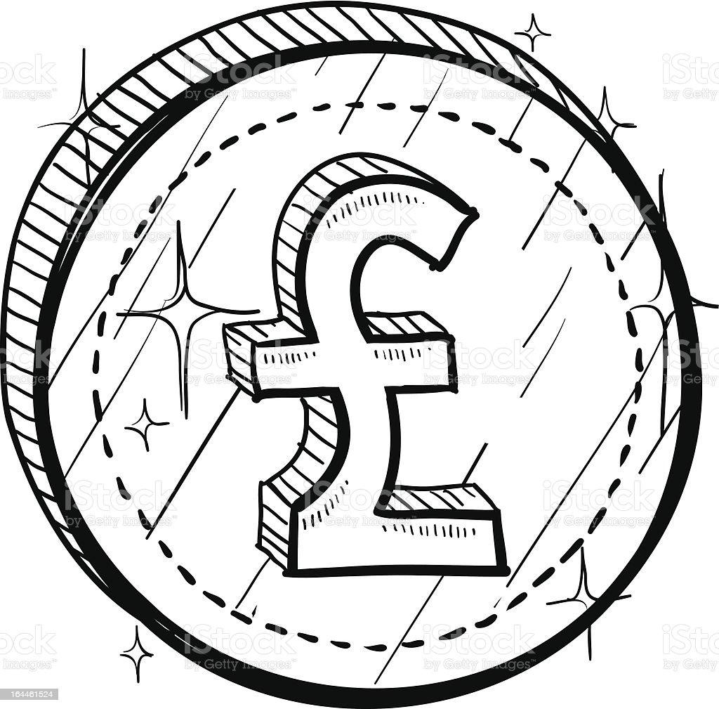 British Pounds Sterling symbol on coin sketch vector art illustration
