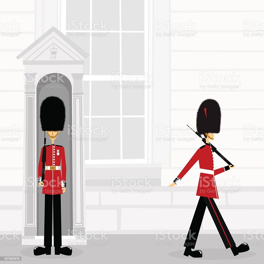 British Royal Guard Buckinham Palace london England illustration vector art illustration