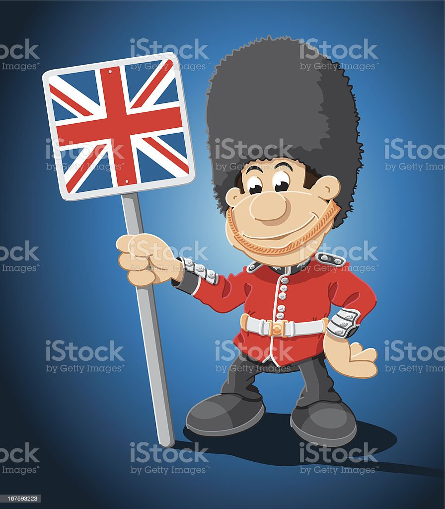 British Royal Guard Cartoon Man royalty-free stock vector art