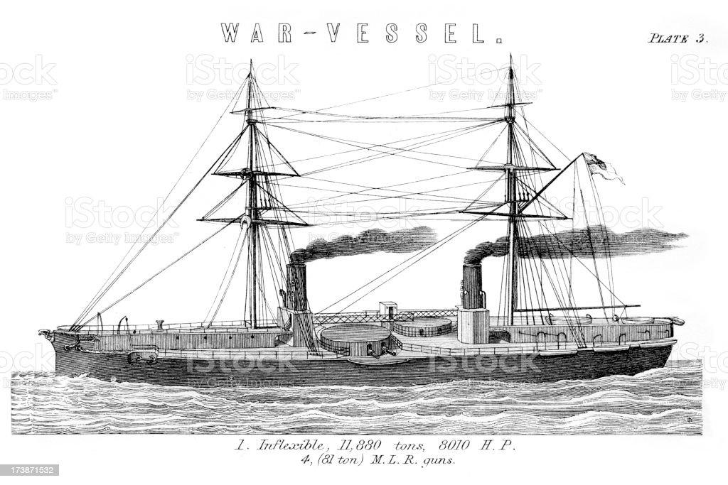 British Royal Navy Warship HMS Inflexible royalty-free stock vector art