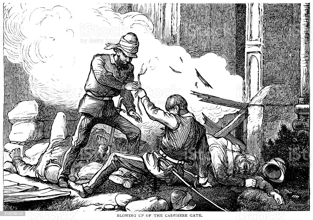 British soldiers blowing up the Kashmir Gate, Delhi vector art illustration