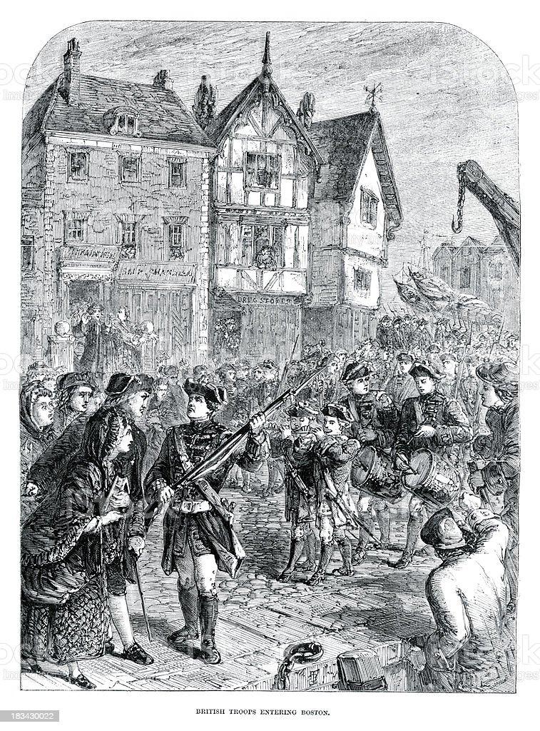 British Troops Entering Boston royalty-free stock vector art