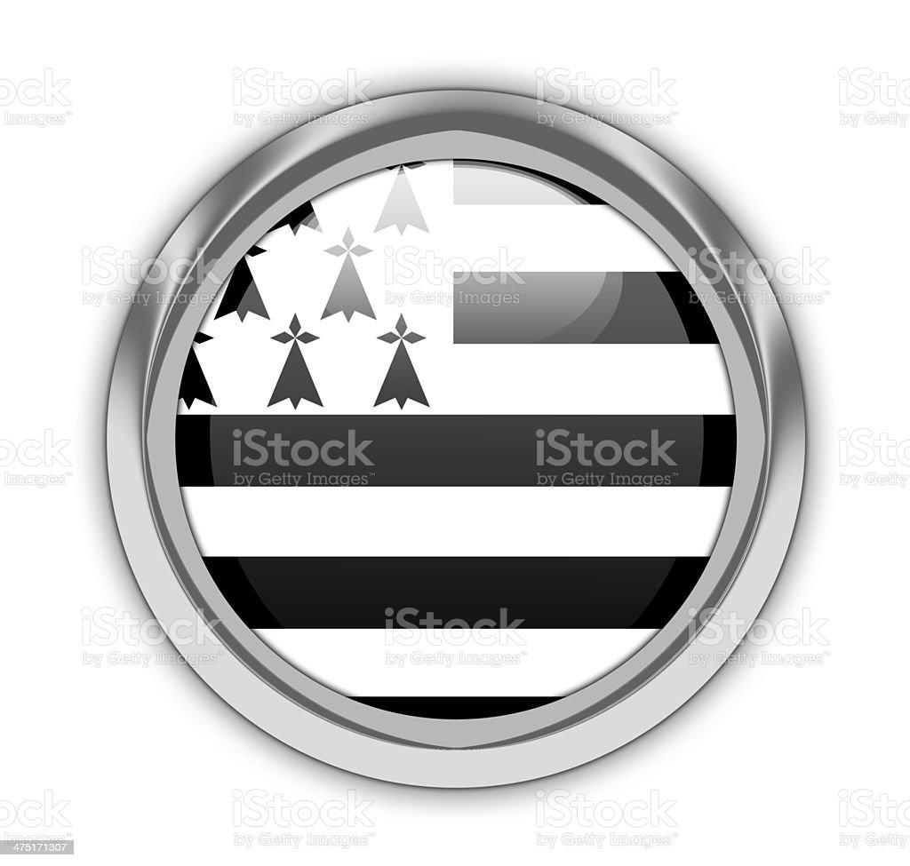Brittany flag button. vector art illustration