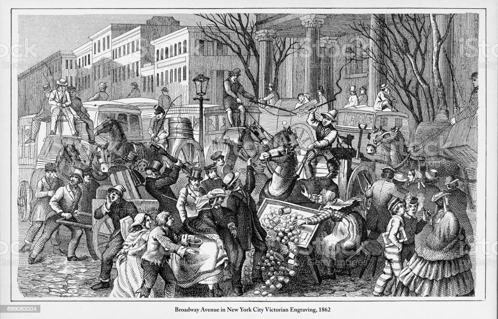 Broadway Avenue in New York City Victorian Engraving, 1862 vector art illustration