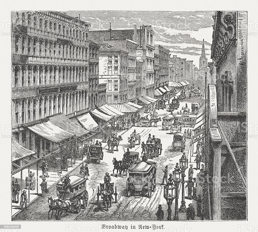 Broadway in New York City, wood engraving, published in 1882 vector art illustration