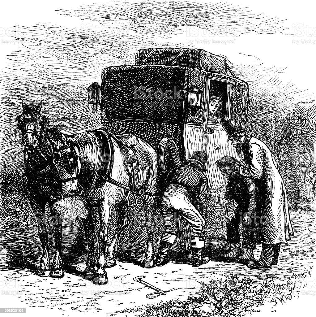 Broken down Victorian horse drawn coach vector art illustration