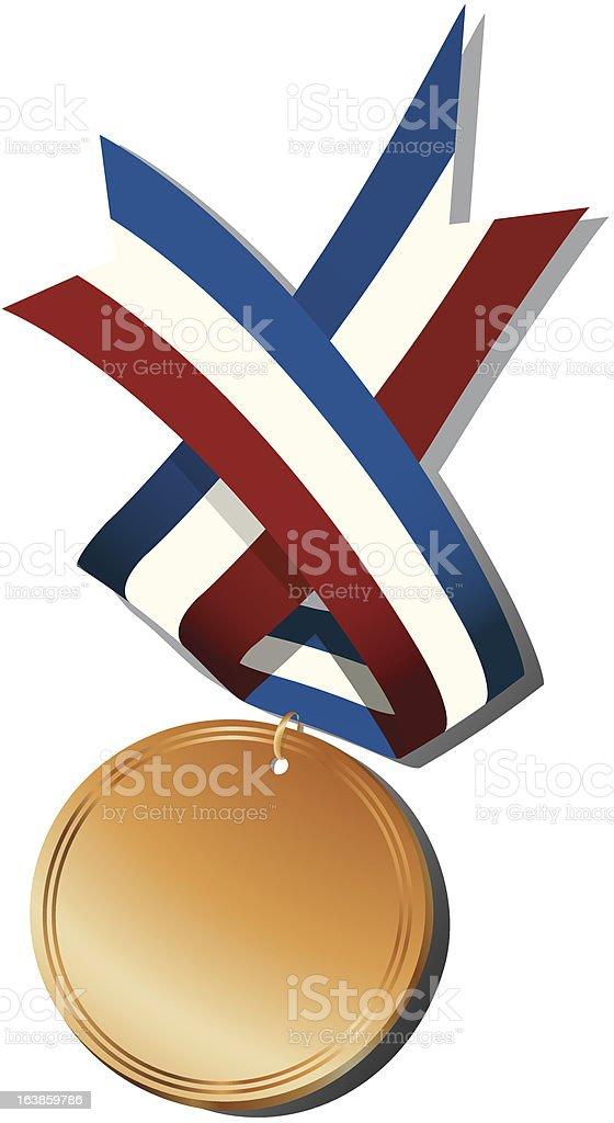 Bronze medal and ribbon royalty-free stock vector art