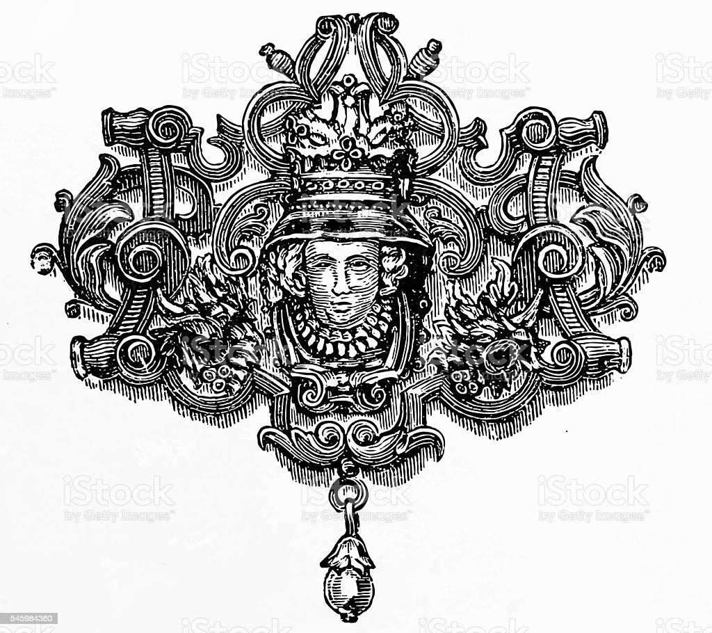 Brooch of silver vector art illustration