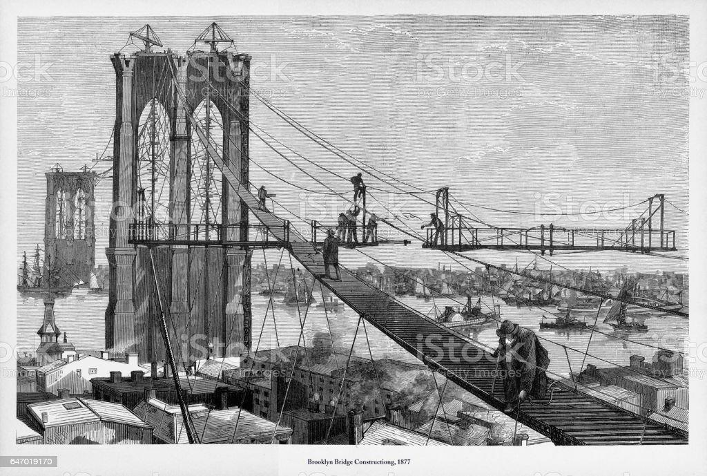 Brooklyn Bridge Construction Victorian Engraving, 1877 vector art illustration