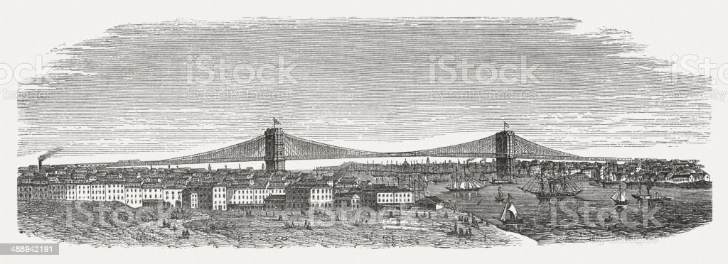 Brooklyn Bridge, New York City, USA, wood engraving, published 1876 vector art illustration