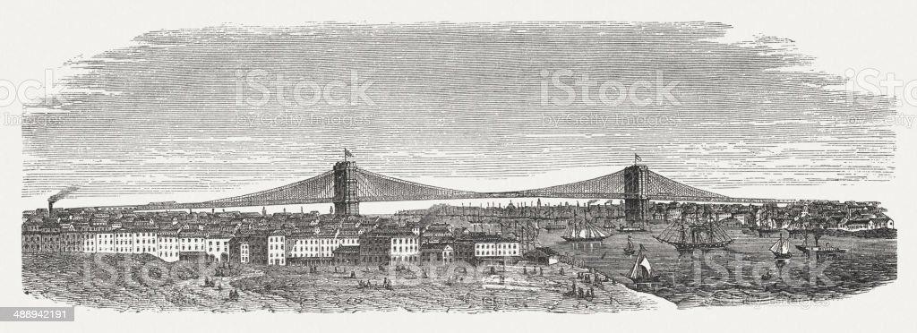 Brooklyn Bridge, New York City, USA, wood engraving, published 1876 vector art illustration